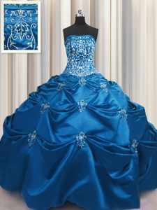 Embroidery Ball Gowns Quince Ball Gowns Teal Strapless Taffeta Sleeveless Floor Length Lace Up