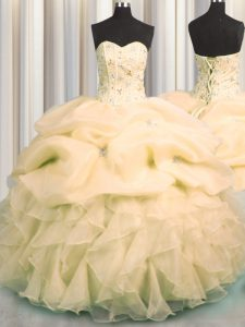Visible Boning Peach Ball Gowns Sweetheart Sleeveless Organza Floor Length Lace Up Beading and Ruffles and Pick Ups Quin