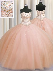 Bling-bling Really Puffy Peach Lace Up Sweetheart Beading Sweet 16 Quinceanera Dress Tulle Sleeveless