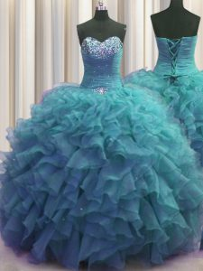 Fancy Beaded Bust Floor Length Teal Quinceanera Gown Organza Sleeveless Beading and Ruffles