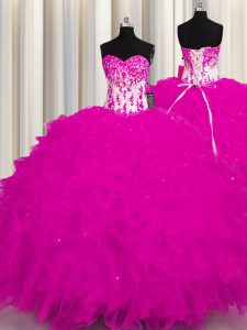 Clearance Fuchsia Ball Gowns Appliques Sweet 16 Quinceanera Dress Lace Up Organza Sleeveless Floor Length
