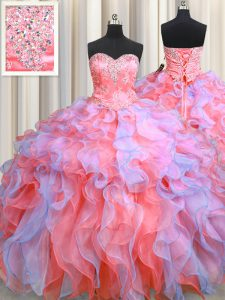 Multi-color Organza Lace Up Quinceanera Gowns Sleeveless Floor Length Beading and Appliques and Ruffles