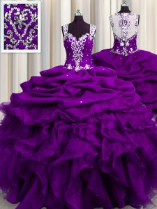 High End See Through Back Purple Ball Gowns Beading and Ruffles and Sequins and Pick Ups 15 Quinceanera Dress Zipper Org