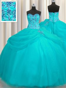 Decent Puffy Skirt Aqua Blue Sleeveless Floor Length Beading Lace Up Quinceanera Gown