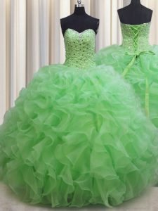 Designer Ball Gowns Organza Sweetheart Sleeveless Beading and Ruffles Floor Length Lace Up Quinceanera Gown