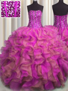 Visible Boning Beaded Bodice Beading and Ruffles Quinceanera Gowns Multi-color Lace Up Sleeveless Floor Length