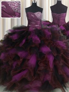 Designer Organza and Tulle Sweetheart Sleeveless Lace Up Beading and Ruffles and Ruffled Layers Quinceanera Gown in Mult