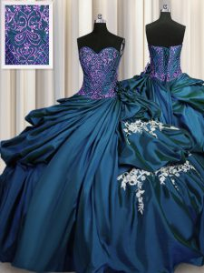 Floor Length Lace Up Quinceanera Dress Teal for Military Ball and Sweet 16 and Quinceanera with Beading and Appliques