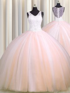 See Through Back Zipple Up Baby Pink and Peach Tulle Zipper V-neck Sleeveless Quince Ball Gowns Brush Train Beading and