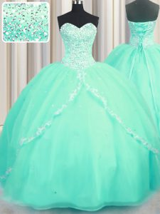 Beautiful Organza Sleeveless With Train Sweet 16 Dresses Brush Train and Beading and Appliques