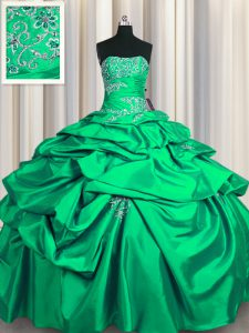 New Arrival Turquoise Sleeveless Floor Length Appliques and Pick Ups Lace Up Vestidos de Quinceanera