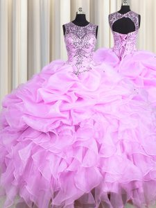 Exceptional Scoop See Through Lilac Organza Lace Up 15th Birthday Dress Sleeveless Floor Length Beading and Ruffles and