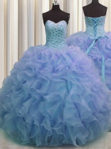 Admirable Blue Sweetheart Lace Up Beading and Ruffles Quinceanera Gowns Sleeveless