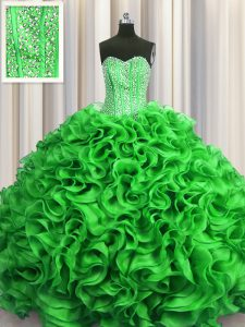 Colorful Visible Boning Green Organza Lace Up Vestidos de Quinceanera Sleeveless Floor Length Beading and Ruffles