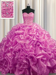 Sleeveless Organza With Train Court Train Lace Up Sweet 16 Quinceanera Dress in Lilac with Beading and Pick Ups