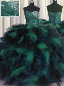 New Arrival Floor Length Multi-color 15th Birthday Dress Organza and Tulle Sleeveless Beading and Ruffles