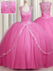 Fine Zipper Up Cap Sleeves Brush Train Beading and Appliques Zipper Quince Ball Gowns