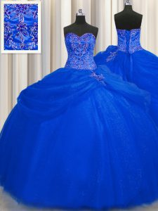 Most Popular Big Puffy Royal Blue Ball Gowns Sweetheart Sleeveless Tulle Floor Length Lace Up Beading 15th Birthday Dres