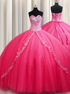 High End Tulle Sleeveless Ball Gown Prom Dress Brush Train and Beading