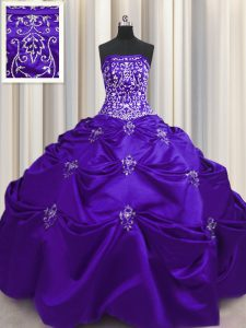 Sleeveless Floor Length Beading and Appliques and Embroidery Lace Up Ball Gown Prom Dress with Purple