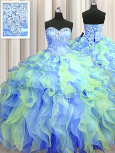 Latest Multi-color Ball Gowns Sweetheart Sleeveless Organza Floor Length Lace Up Beading and Appliques and Ruffles Ball