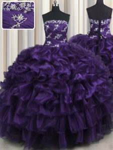 Classical Purple Lace Up Sweet 16 Quinceanera Dress Appliques and Ruffles and Ruffled Layers Sleeveless Floor Length