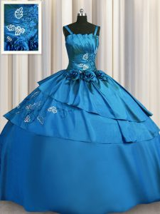 Designer Teal Satin Lace Up Quinceanera Gown Sleeveless Floor Length Beading and Embroidery
