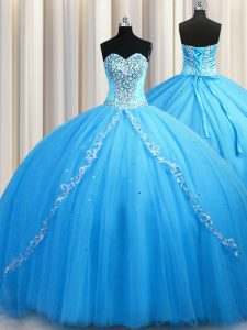 Glorious Baby Blue Lace Up Sweetheart Beading Quinceanera Gowns Tulle Sleeveless Brush Train