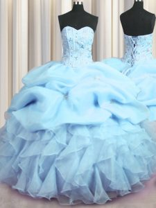Modest Visible Boning Baby Blue Ball Gowns Sweetheart Sleeveless Organza Floor Length Lace Up Beading and Ruffles and Pi