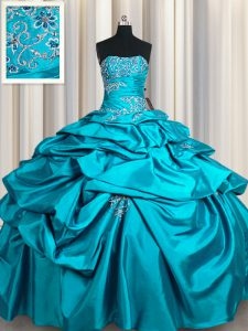 Smart Strapless Sleeveless Taffeta Quinceanera Dress Appliques and Pick Ups Lace Up