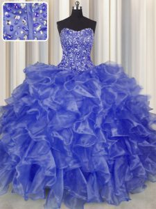 Sumptuous Visible Boning Blue Organza Lace Up Quinceanera Gowns Sleeveless Floor Length Beading and Ruffles
