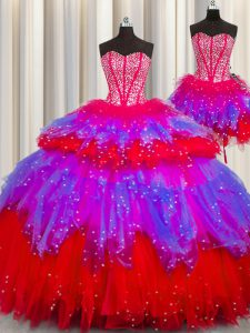 Three Piece Visible Boning Floor Length Multi-color Sweet 16 Quinceanera Dress Sweetheart Sleeveless Lace Up