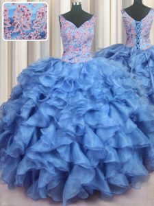 Ruffled Baby Blue V-neck Lace Up Appliques and Ruffles Quinceanera Gowns Sleeveless