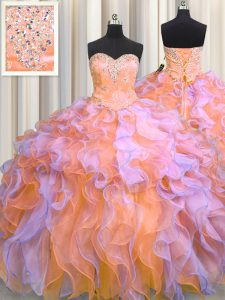 Amazing Floor Length Multi-color Quince Ball Gowns Organza Sleeveless Beading and Appliques and Ruffles