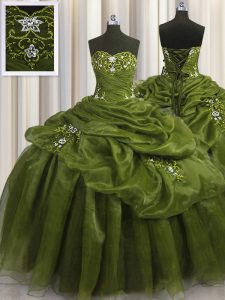 Olive Green Ball Gowns Organza Sweetheart Sleeveless Beading and Appliques and Pick Ups Floor Length Lace Up Quinceanera