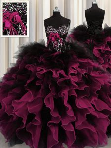 Wonderful Red And Black Sleeveless Floor Length Beading and Ruffles Lace Up Quince Ball Gowns