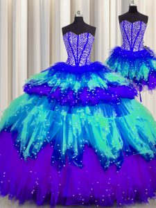 Three Piece Visible Boning Multi-color Ball Gowns Beading and Ruffles and Ruffled Layers and Sequins Quince Ball Gowns L