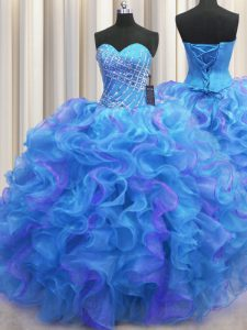Top Selling Ball Gowns 15 Quinceanera Dress Multi-color Sweetheart Organza Sleeveless Floor Length Lace Up