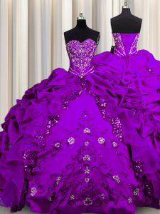 Sequins Sweetheart Sleeveless Vestidos de Quinceanera Floor Length Beading and Embroidery and Ruffles Purple Taffeta