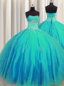 Admirable Big Puffy Beading and Appliques Sweet 16 Dresses Aqua Blue Lace Up Sleeveless Floor Length