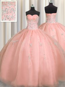 Puffy Skirt Watermelon Red Sweetheart Zipper Beading and Appliques 15th Birthday Dress Sleeveless