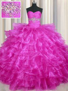 Hot Selling Floor Length Fuchsia Sweet 16 Dress Organza Sleeveless Beading and Ruffled Layers