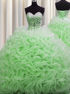 Delicate Brush Train Ball Gowns Sweetheart Sleeveless Fabric With Rolling Flowers Floor Length Lace Up Beading and Pick