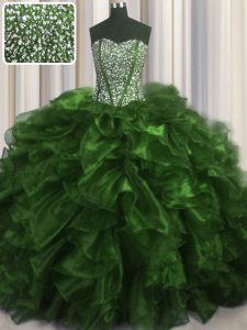 Dramatic Visible Boning Olive Green Sleeveless Brush Train Beading and Ruffles With Train Quinceanera Gown