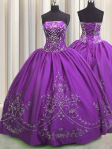 Eggplant Purple Strapless Neckline Embroidery Sweet 16 Dress Sleeveless Lace Up