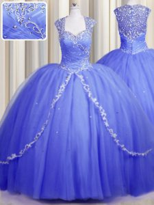 Suitable Zipper Up Sweetheart Cap Sleeves Quinceanera Dress With Brush Train Beading and Appliques Blue Tulle