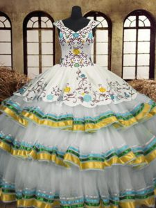 Sleeveless Floor Length Embroidery and Ruffled Layers Lace Up Sweet 16 Dresses with Multi-color