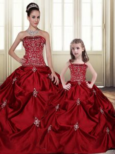 Free and Easy Taffeta Sleeveless Floor Length Quinceanera Dresses and Embroidery and Pick Ups