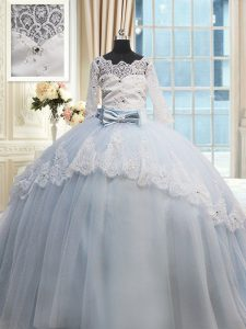 Light Blue Ball Gowns Tulle Scalloped Half Sleeves Beading and Lace and Bowknot Lace Up Quinceanera Dresses Brush Train