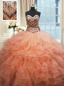 Lovely Beaded Bodice Floor Length Watermelon Red and Peach 15th Birthday Dress Organza Sleeveless Beading and Ruffles